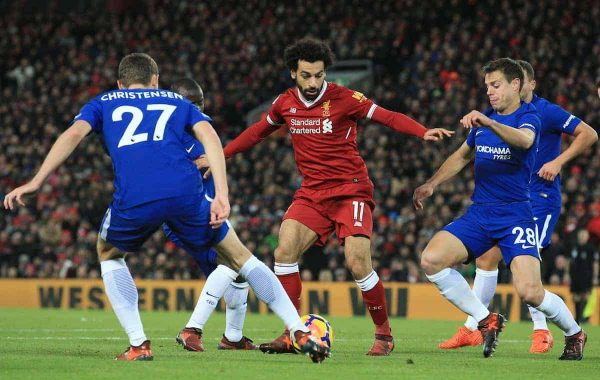 LIVERPOOL, ENGLAND - Saturday, November 25, 2017: Liverpool's Mohamed Salah tests Chelsea defence during the FA Premier League match between Liverpool and Chelsea at Anfield. (Pic by Lindsey Parnaby/Propaganda)
