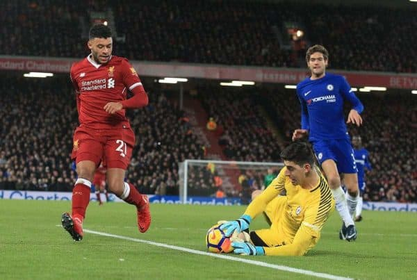 LIVERPOOL, ENGLAND - Saturday, November 25, 2017: Liverpoolís Alex Oxlade-Chamberlain (L) is beaten by Chelsea's goalkeeper Thibaut Courtois during the FA Premier League match between Liverpool and Chelsea at Anfield. (Pic by Lindsey Parnaby/Propaganda)