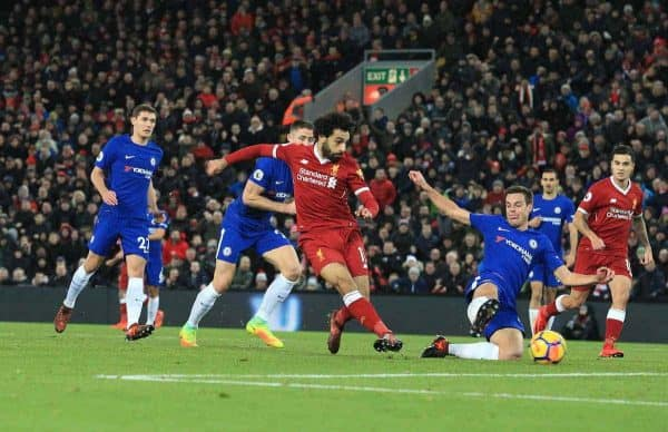 LIVERPOOL, ENGLAND - Saturday, November 25, 2017:Liverpoolís Mohamed Salah scores the opening goal against Chelsea during the FA Premier League match between Liverpool and Chelsea at Anfield. (Pic by Lindsey Parnaby/Propaganda)
