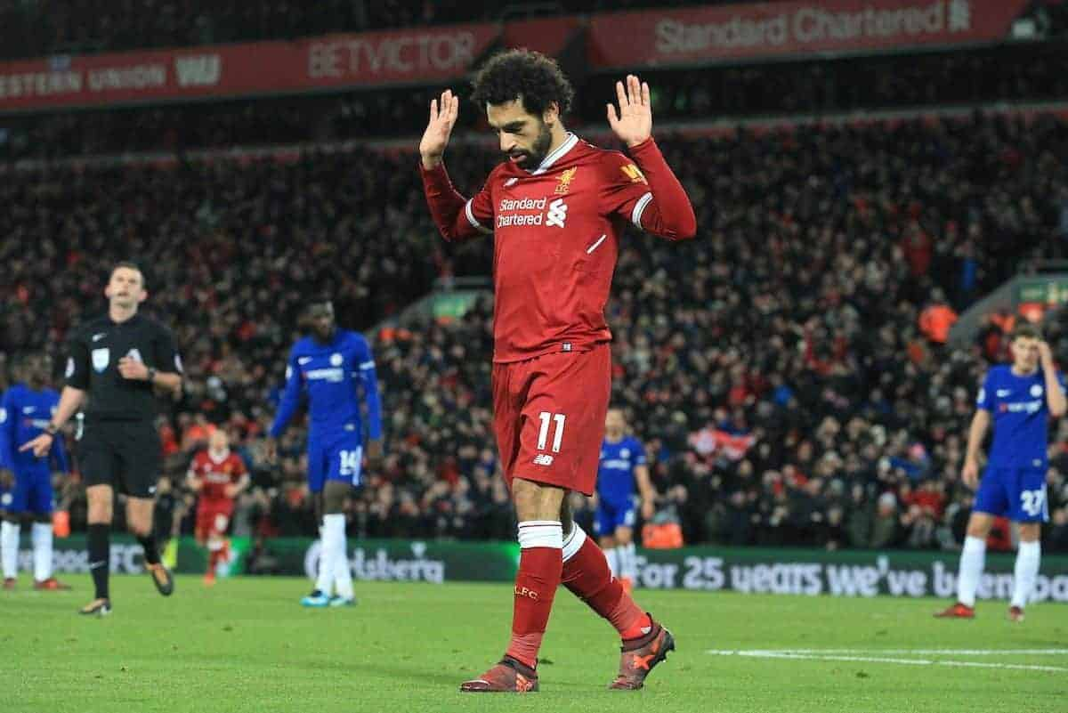 Liverpoolís Mohamed Salah celebrates scoring the opening goal against Chelsea during the FA Premier League match between Liverpool and Chelsea at Anfield. (Pic by Lindsey Parnaby/Propaganda)