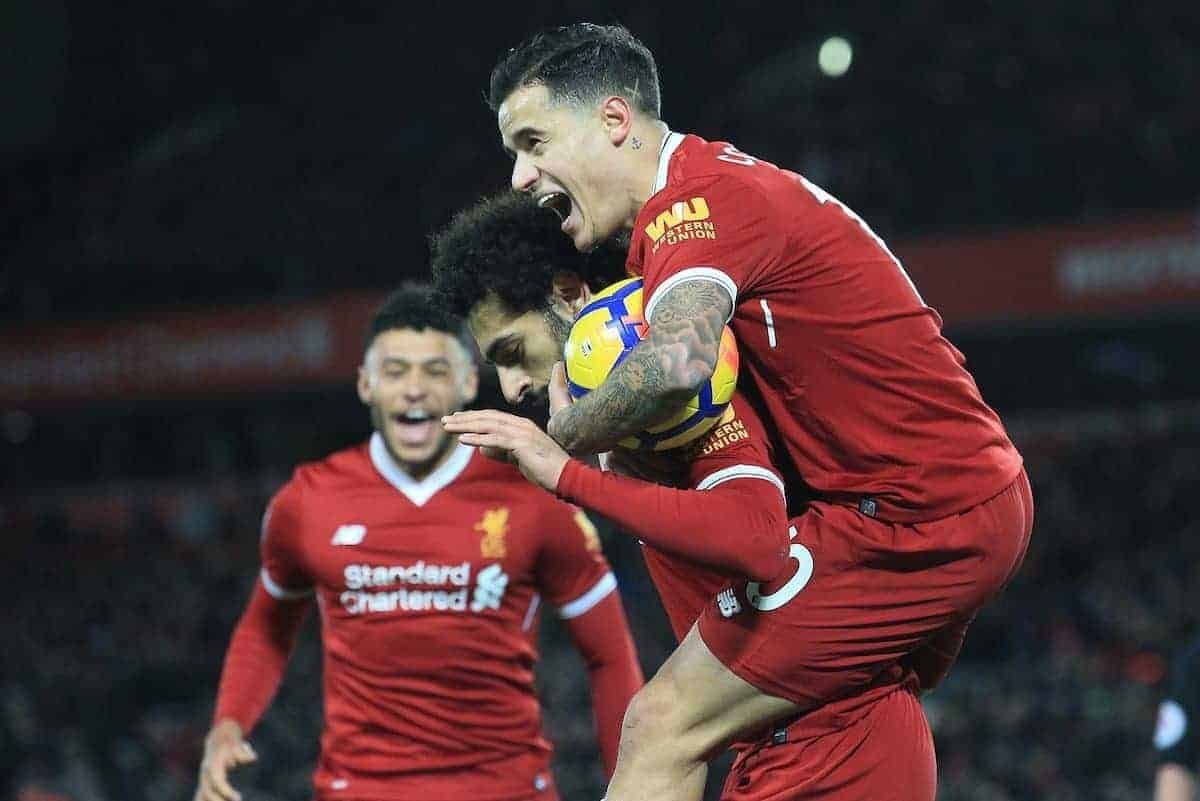 LIVERPOOL, ENGLAND - Saturday, November 25, 2017:Liverpool's Mohamed Salah celebrates scoring the opening goal against Chelsea with teammate Liverpool's Philippe Coutinho during the FA Premier League match between Liverpool and Chelsea at Anfield. (Pic by Lindsey Parnaby/Propaganda)