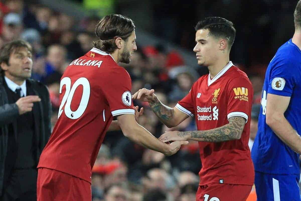 LIVERPOOL, ENGLAND - Saturday, November 25, 2017: Liverpool substitute Adam Lallana (L) comes onto play as Liverpoolís Philippe Coutinho is taken off during the FA Premier League match between Liverpool and Chelsea at Anfield. (Pic by Lindsey Parnaby/Propaganda)