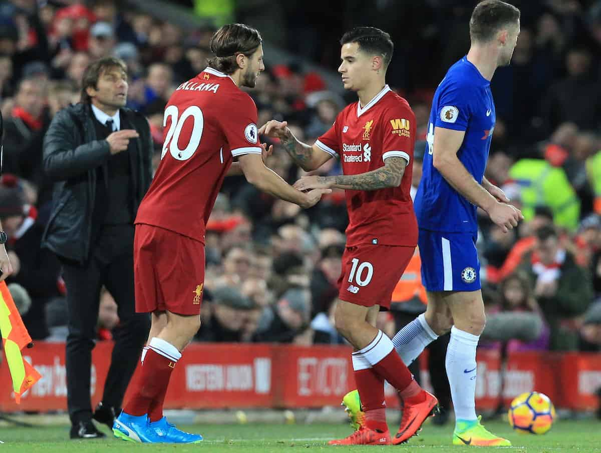 LIVERPOOL, ENGLAND - Saturday, November 25, 2017: Liverpool substitute Adam Lallana (L) comes onto play as Liverpool?s Philippe Coutinho is taken off during the FA Premier League match between Liverpool and Chelsea at Anfield. (Pic by Lindsey Parnaby/Propaganda)