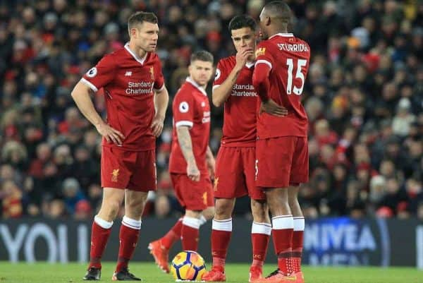 LIVERPOOL, ENGLAND - Saturday, November 25, 2017: Liverpoolís Philippe Coutinho (centre) confers with team mates Liverpoolís Daniel Sturridge (R) and Liverpoolís James Milner (L) during the FA Premier League match between Liverpool and Chelsea at Anfield. (Pic by Lindsey Parnaby/Propaganda)
