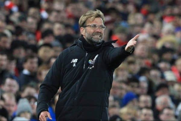 LIVERPOOL, ENGLAND - Saturday, November 25, 2017: Liverpoolís manager Jurgen Klopp in action during the FA Premier League match between Liverpool and Chelsea at Anfield. (Pic by Lindsey Parnaby/Propaganda)