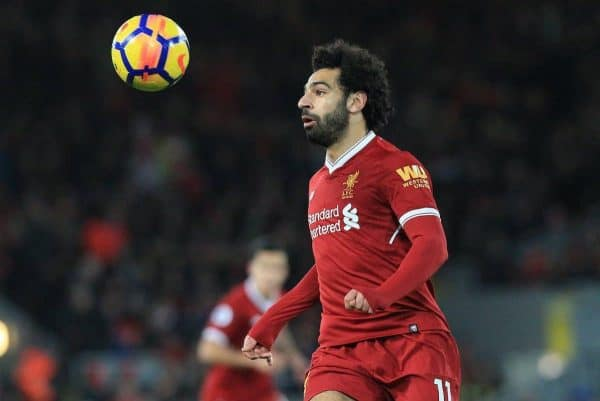 LIVERPOOL, ENGLAND - Saturday, November 25, 2017: Liverpoolís Mohamed Salah in action during the FA Premier League match between Liverpool and Chelsea at Anfield. (Pic by Lindsey Parnaby/Propaganda)