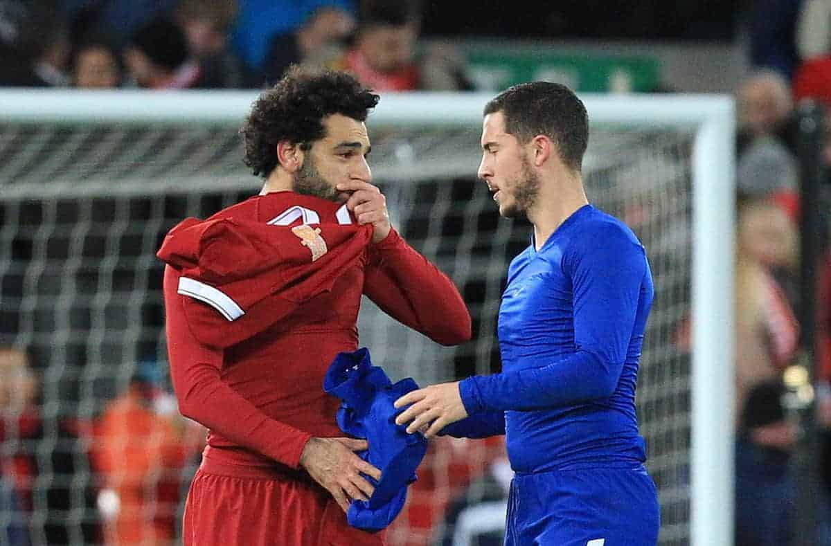 LIVERPOOL, ENGLAND - Saturday, November 25, 2017: Liverpoolís Mohamed Salah swaps shirts with Chelseaís Eden Hazard after the FA Premier League match between Liverpool and Chelsea at Anfield. (Pic by Lindsey Parnaby/Propaganda)