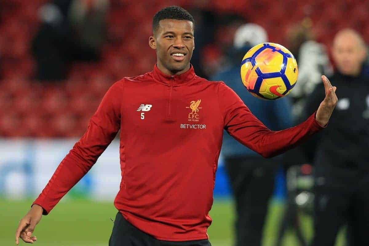 LIVERPOOL, ENGLAND - Saturday, November 25, 2017: Liverpoolís Georginio Wijnaldum in action during warm up for the FA Premier League match between Liverpool and Chelsea at Anfield. (Pic by Lindsey Parnaby/Propaganda)