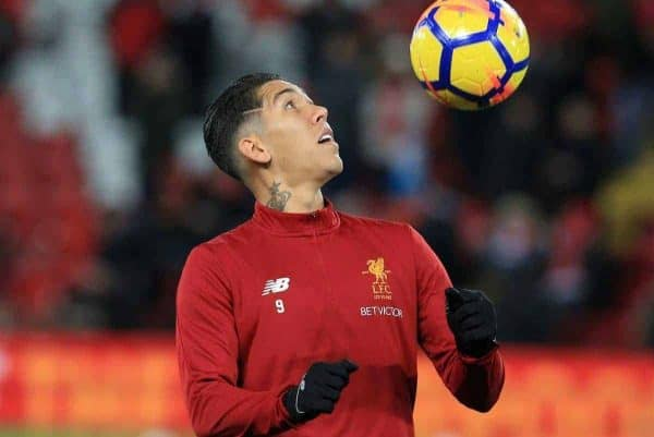 LIVERPOOL, ENGLAND - Saturday, November 25, 2017: Liverpoolís Roberto Firmino in action during warm up for the FA Premier League match between Liverpool and Chelsea at Anfield. (Pic by Lindsey Parnaby/Propaganda)