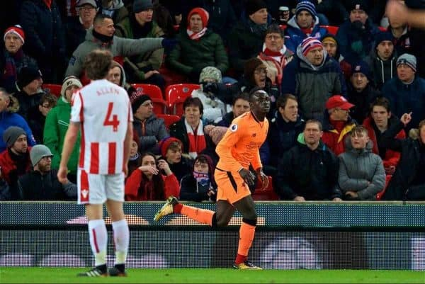 STOKE-ON-TRENT, ENGLAND - Wednesday, November 29, 2017: Liverpool's Mohamed Salah celebrates scoring the first goal during the FA Premier League match between Stoke City and Liverpool at the Bet365 Stadium. (Pic by David Rawcliffe/Propaganda)