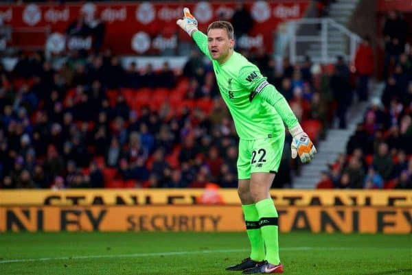 STOKE-ON-TRENT, ENGLAND - Wednesday, November 29, 2017: Liverpool's goalkeeper Simon Mignolet during the FA Premier League match between Stoke City and Liverpool at the Bet365 Stadium. (Pic by David Rawcliffe/Propaganda)