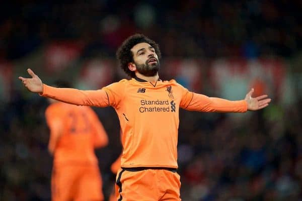 Liverpool's Mohamed Salah celebrates scoring the second goal during the FA Premier League match between Stoke City and Liverpool at the Bet365 Stadium. (Pic by David Rawcliffe/Propaganda)