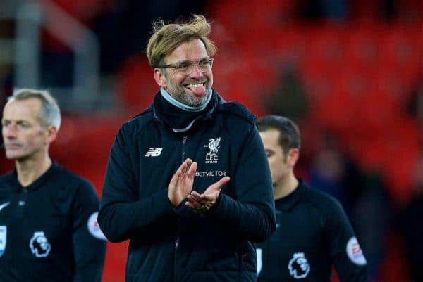 STOKE-ON-TRENT, ENGLAND - Wednesday, November 29, 2017: Liverpool's manager J¸rgen Klopp celebrates his side's 3-0 victory during the FA Premier League match between Stoke City and Liverpool at the Bet365 Stadium. (Pic by David Rawcliffe/Propaganda)