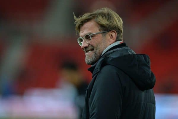 STOKE-ON-TRENT, ENGLAND - Wednesday, November 29, 2017: Liverpool manger Jurgen Klopp reacts before the FA Premier League match between Stoke City and Liverpool at the Bet365 Stadium. (Pic by Peter Powell/Propaganda)