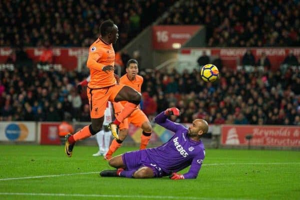 STOKE-ON-TRENT, ENGLAND - Wednesday, November 29, 2017: Liverpoolís Sadio Mane scores the opening goal during the FA Premier League match between Stoke City and Liverpool at the Bet365 Stadium. (Pic by Peter Powell/Propaganda)