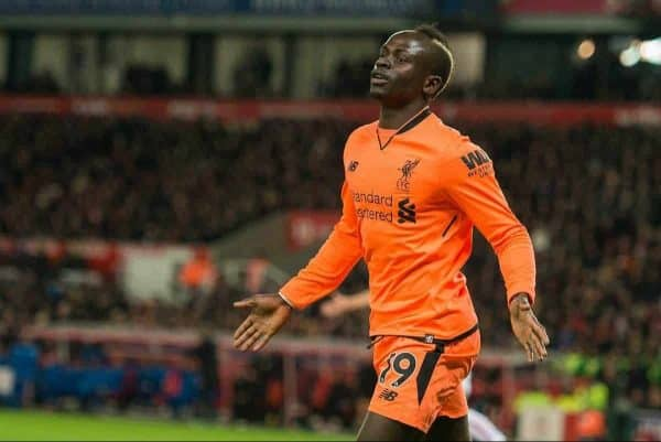 STOKE-ON-TRENT, ENGLAND - Wednesday, November 29, 2017: Liverpoolís Sadio Mane celebrates scoring the opening goal with Dominic Solank , Joe Gomez and Alex Oxlade-Chamberlain during the FA Premier League match between Stoke City and Liverpool at the Bet365 Stadium. (Pic by Peter Powell/Propaganda)