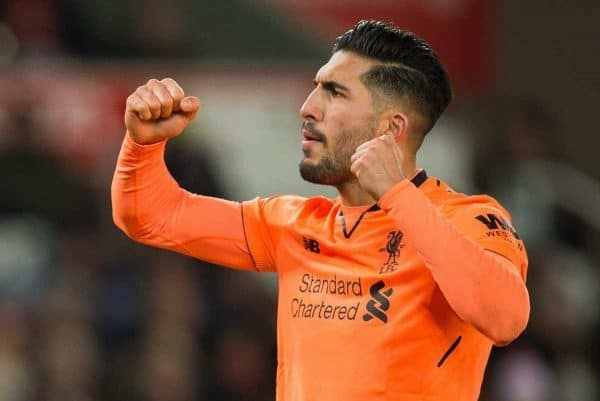 Liverpoolís Emre Can reacts during the FA Premier League match between Stoke City and Liverpool at the Bet365 Stadium. (Pic by Peter Powell/Propaganda)