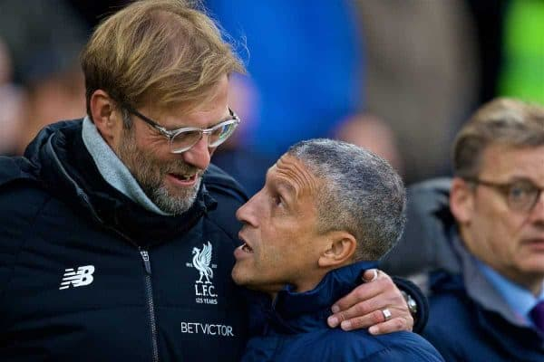BRIGHTON AND HOVE, ENGLAND - Saturday, December 2, 2017: Liverpool's manager Jürgen Klopp and Brighton & Hove Albion's manager Chris Hughton before the FA Premier League match between Brighton & Hove Albion FC and Liverpool FC at the American Express Community Stadium. (Pic by David Rawcliffe/Propaganda)