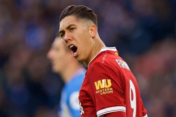 BRIGHTON AND HOVE, ENGLAND - Saturday, December 2, 2017: Liverpool's Roberto Firmino reacts during the FA Premier League match between Brighton & Hove Albion FC and Liverpool FC at the American Express Community Stadium. (Pic by David Rawcliffe/Propaganda)