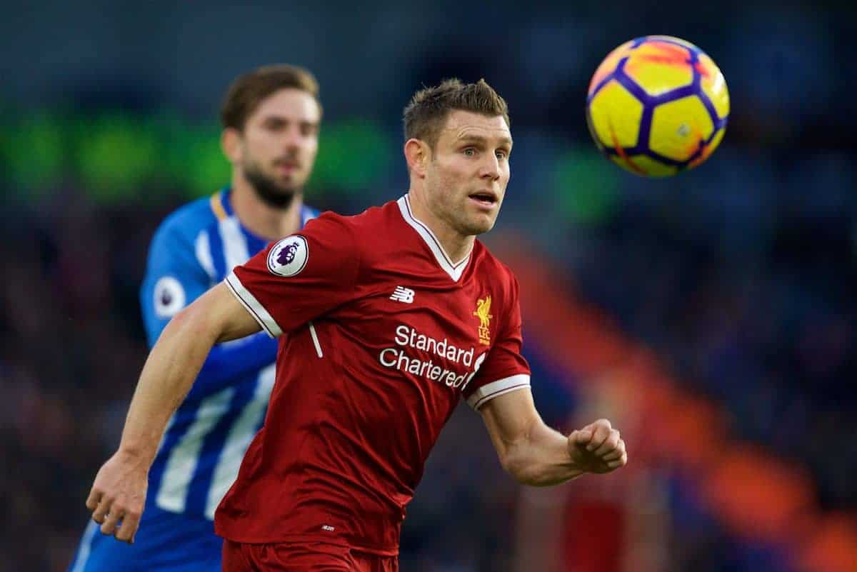 BRIGHTON AND HOVE, ENGLAND - Saturday, December 2, 2017: Liverpool's James Milner during the FA Premier League match between Brighton & Hove Albion FC and Liverpool FC at the American Express Community Stadium. (Pic by David Rawcliffe/Propaganda)