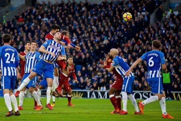 BRIGHTON AND HOVE, ENGLAND - Saturday, December 2, 2017: Liverpool's Emre Can scores the first goal during the FA Premier League match between Brighton & Hove Albion FC and Liverpool FC at the American Express Community Stadium. (Pic by David Rawcliffe/Propaganda)