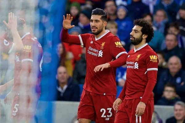 BRIGHTON AND HOVE, ENGLAND - Saturday, December 2, 2017: Liverpool's Emre Can celebrates scoring the first goal during the FA Premier League match between Brighton & Hove Albion FC and Liverpool FC at the American Express Community Stadium. (Pic by David Rawcliffe/Propaganda)