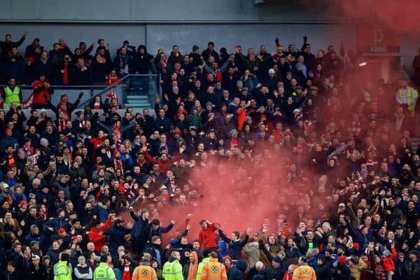BRIGHTON AND HOVE, ENGLAND - Saturday, December 2, 2017: Liverpool supporters. celebrate the first goal against Brighton & Hove Albion with a red smoke bomb during the FA Premier League match between Brighton & Hove Albion FC and Liverpool FC at the American Express Community Stadium. (Pic by David Rawcliffe/Propaganda)
