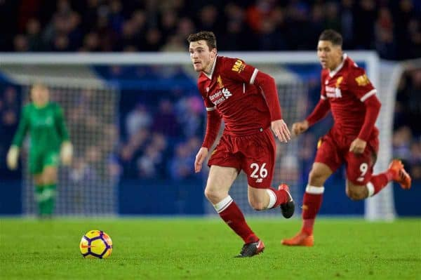 Liverpool's Andy Robertson during the FA Premier League match between Brighton & Hove Albion FC and Liverpool FC at the American Express Community Stadium. (Pic by David Rawcliffe/Propaganda)