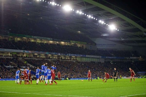 BRIGHTON AND HOVE, ENGLAND - Saturday, December 2, 2017: Liverpool's Philippe Coutinho Correia scores the fourth goal from a free-kick during the FA Premier League match between Brighton & Hove Albion FC and Liverpool FC at the American Express Community Stadium. (Pic by David Rawcliffe/Propaganda)