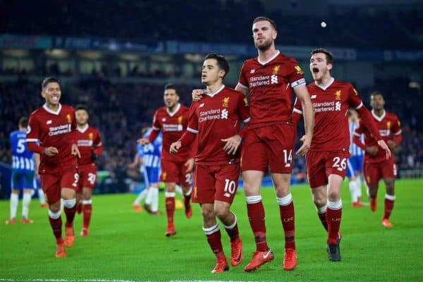 BRIGHTON AND HOVE, ENGLAND - Saturday, December 2, 2017: Liverpool's Philippe Coutinho Correia celebrates scoring the fourth goal with team-mate captain Jordan Henderson during the FA Premier League match between Brighton & Hove Albion FC and Liverpool FC at the American Express Community Stadium. (Pic by David Rawcliffe/Propaganda)
