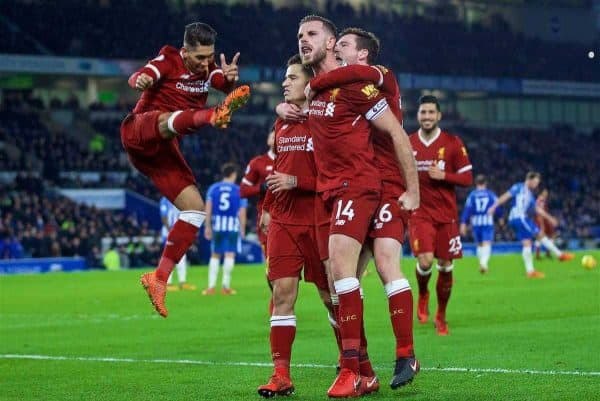 Liverpool's Philippe Coutinho Correia celebrates scoring the fourth goal with team-mates Roberto Firmino, Andy Robertson, captain Jordan Henderson during the FA Premier League match between Brighton & Hove Albion FC and Liverpool FC at the American Express Community Stadium. (Pic by David Rawcliffe/Propaganda)