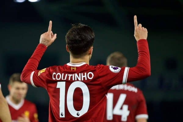 BRIGHTON AND HOVE, ENGLAND - Saturday, December 2, 2017: Liverpool's Philippe Coutinho Correia celebrates scoring the fifth goal during the FA Premier League match between Brighton & Hove Albion FC and Liverpool FC at the American Express Community Stadium. (Pic by David Rawcliffe/Propaganda)