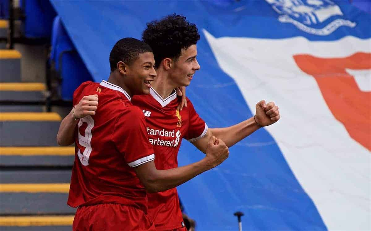 BIRKENHEAD, ENGLAND - Wednesday, December 6, 2017: Liverpool's Curtis Jones celebrates scoring the first goal during the UEFA Youth League Group E match between Liverpool FC and FC Spartak Moscow at Prenton Park. (Pic by David Rawcliffe/Propaganda)