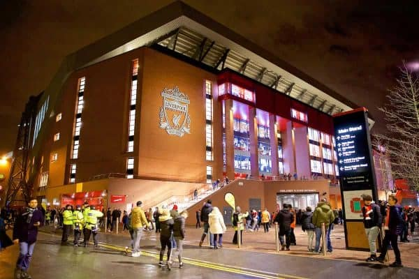 LIVERPOOL, ENGLAND - Wednesday, December 6, 2017: An exterior view of the new Main Stand before the UEFA Champions League Group E match between Liverpool FC and FC Spartak Moscow at Anfield. (Pic by David Rawcliffe/Propaganda)