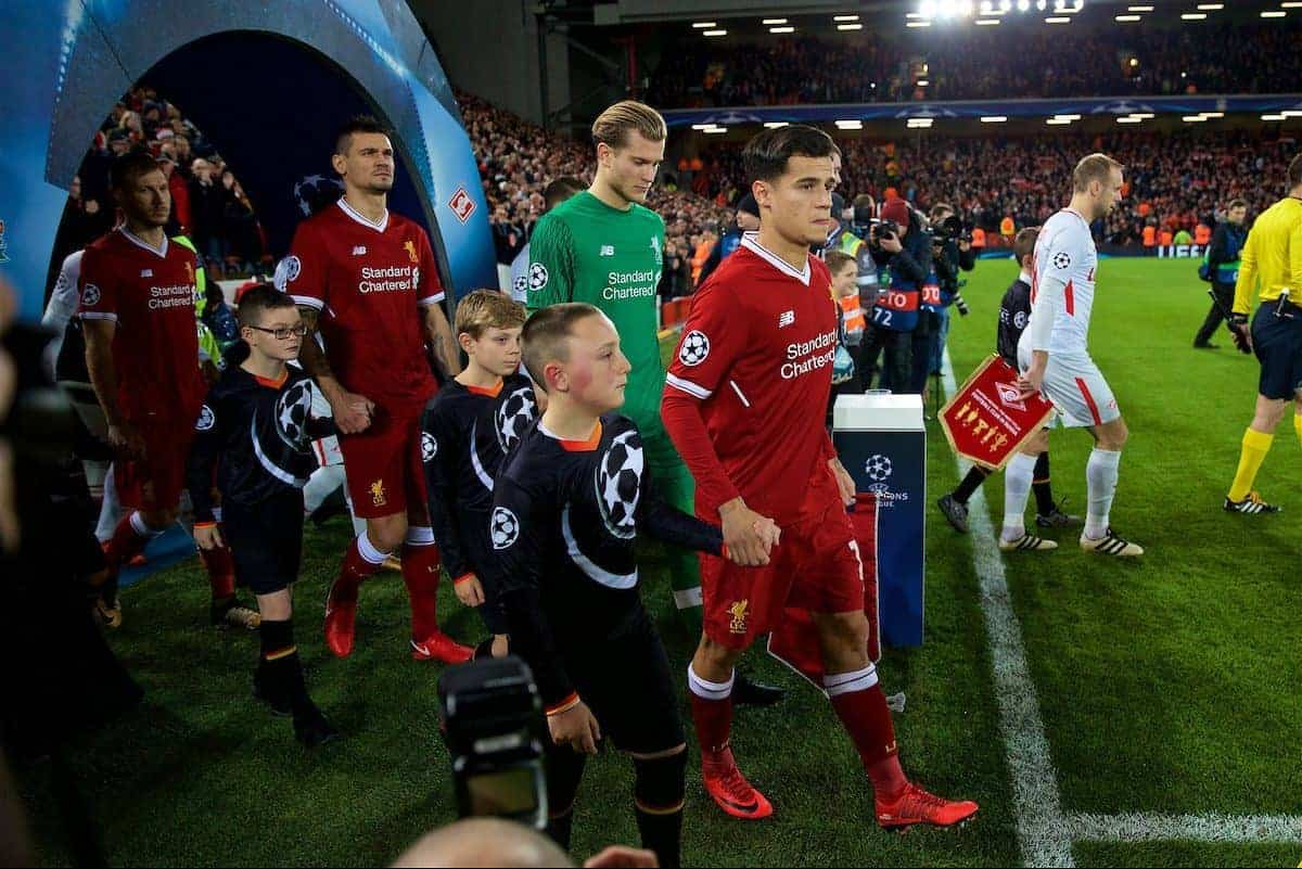 LIVERPOOL, ENGLAND - Wednesday, December 6, 2017: Liverpool's captain Philippe Coutinho Correia leads his side out to face FC Spartak Moscow during the UEFA Champions League Group E match between Liverpool FC and FC Spartak Moscow at Anfield. (Pic by David Rawcliffe/Propaganda)