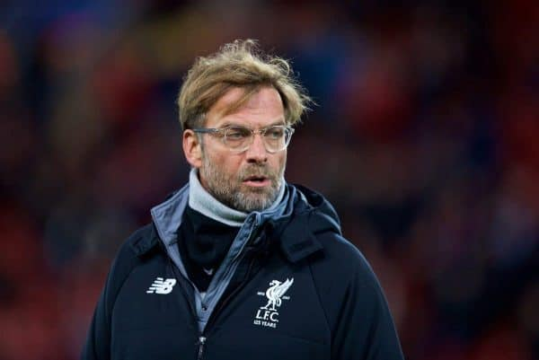 LIVERPOOL, ENGLAND - Wednesday, December 6, 2017: Liverpool's manager Jürgen Klopp before the UEFA Champions League Group E match between Liverpool FC and FC Spartak Moscow at Anfield. (Pic by David Rawcliffe/Propaganda)