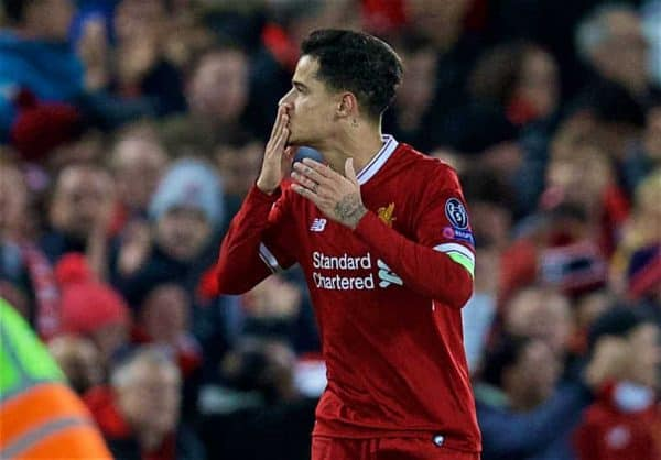 LIVERPOOL, ENGLAND - Wednesday, December 6, 2017: Liverpool's captain Philippe Coutinho Correia celebrates scoring the second goal during the UEFA Champions League Group E match between Liverpool FC and FC Spartak Moscow at Anfield. (Pic by David Rawcliffe/Propaganda)