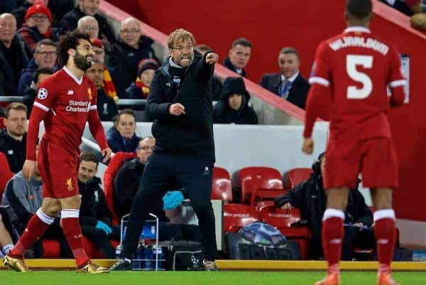 LIVERPOOL, ENGLAND - Wednesday, December 6, 2017: Liverpool's manager Jürgen Klopp recats during the UEFA Champions League Group E match between Liverpool FC and FC Spartak Moscow at Anfield. (Pic by David Rawcliffe/Propaganda)