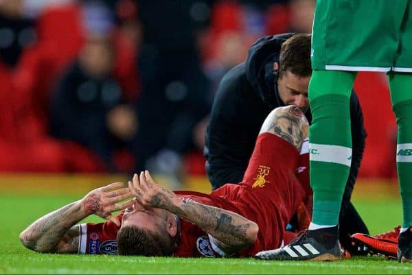 LIVERPOOL, ENGLAND - Wednesday, December 6, 2017: Liverpool's Alberto Moreno lies injured during the UEFA Champions League Group E match between Liverpool FC and FC Spartak Moscow at Anfield. (Pic by David Rawcliffe/Propaganda)