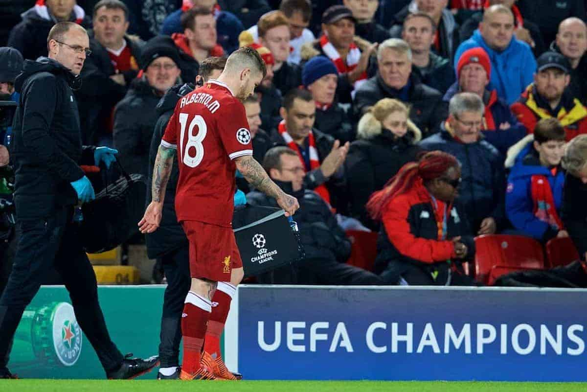 LIVERPOOL, ENGLAND - Wednesday, December 6, 2017: Liverpool's Alberto Moreno goes off injured during the UEFA Champions League Group E match between Liverpool FC and FC Spartak Moscow at Anfield. (Pic by David Rawcliffe/Propaganda)