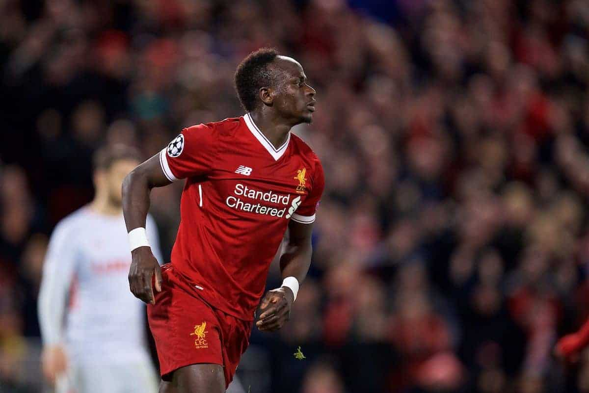 LIVERPOOL, ENGLAND - Wednesday, December 6, 2017: Liverpool's Sadio Mane celebrates scoring the sixth goal during the UEFA Champions League Group E match between Liverpool FC and FC Spartak Moscow at Anfield. (Pic by David Rawcliffe/Propaganda)