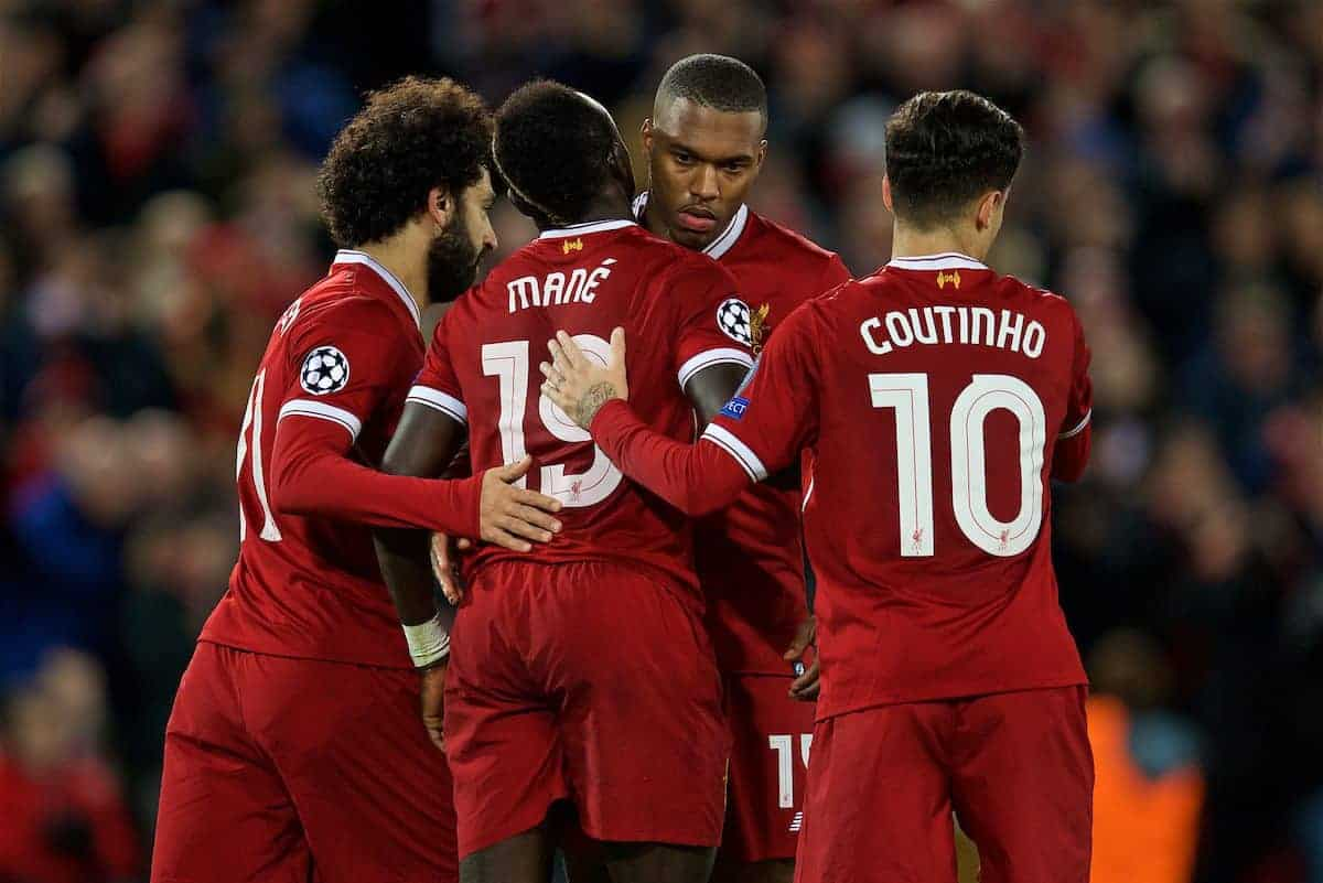 LIVERPOOL, ENGLAND - Wednesday, December 6, 2017: Liverpool's Sadio Mane celebrates scoring the sixth goal with team-mates during the UEFA Champions League Group E match between Liverpool FC and FC Spartak Moscow at Anfield. (Pic by David Rawcliffe/Propaganda)