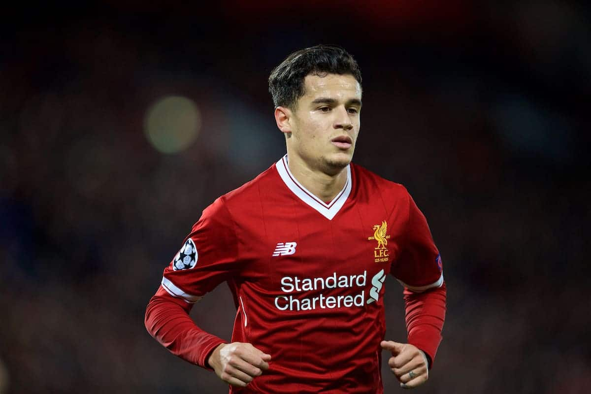 LIVERPOOL, ENGLAND - Wednesday, December 6, 2017: Liverpool's Philippe Coutinho Correia during the UEFA Champions League Group E match between Liverpool FC and FC Spartak Moscow at Anfield. (Pic by David Rawcliffe/Propaganda)