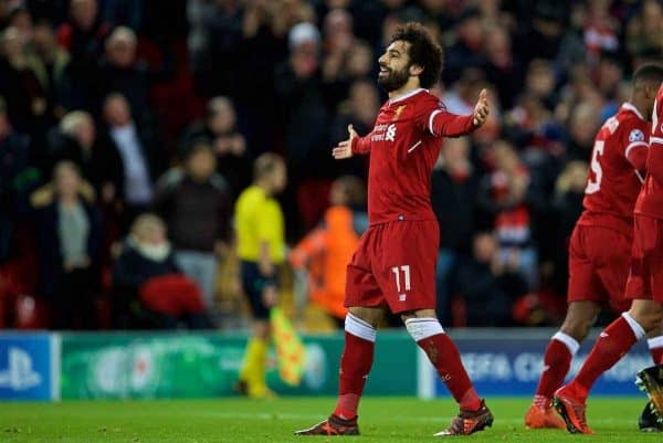 LIVERPOOL, ENGLAND - Wednesday, December 6, 2017: Liverpool's Mohamed Salah celebrates scoring the seventh goal during the UEFA Champions League Group E match between Liverpool FC and FC Spartak Moscow at Anfield. (Pic by David Rawcliffe/Propaganda)