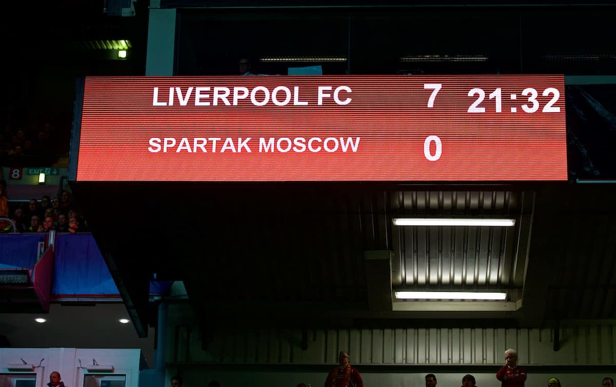 LIVERPOOL, ENGLAND - Wednesday, December 6, 2017: Liverpool's scoreboard records the 7-0 victory over FC Spartak Moscow during the UEFA Champions League Group E match between Liverpool FC and FC Spartak Moscow at Anfield. (Pic by David Rawcliffe/Propaganda)