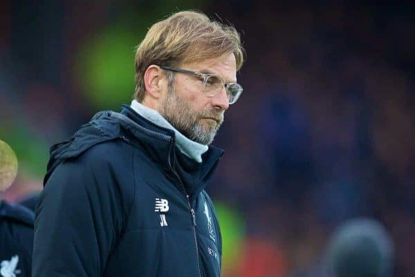 LIVERPOOL, ENGLAND - Sunday, December 10, 2017: Liverpool's manager Jürgen Klopp during the FA Premier League match between Liverpool and Everton, the 229th Merseyside Derby, at Anfield. (Pic by David Rawcliffe/Propaganda)