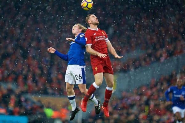 LIVERPOOL, ENGLAND - Sunday, December 10, 2017: Liverpool's captain Jordan Henderson and Everton's Tom Davies during the FA Premier League match between Liverpool and Everton, the 229th Merseyside Derby, at Anfield. (Pic by David Rawcliffe/Propaganda)