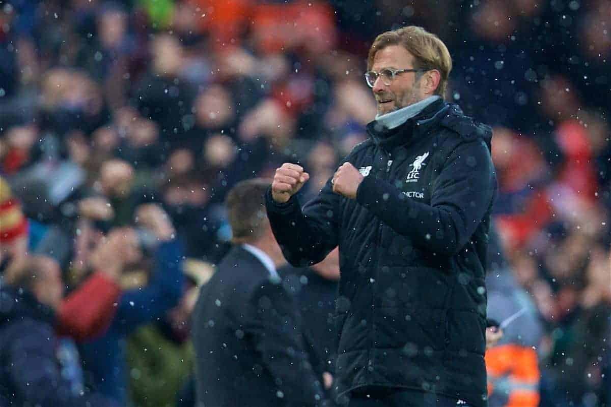 LIVERPOOL, ENGLAND - Sunday, December 10, 2017: Liverpool's manager Jürgen Klopp celebrates as Mohamed Salah scores the first goal during the FA Premier League match between Liverpool and Everton, the 229th Merseyside Derby, at Anfield. (Pic by David Rawcliffe/Propaganda)