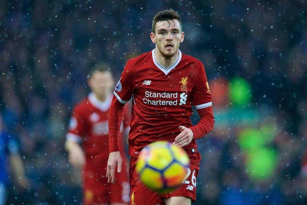 LIVERPOOL, ENGLAND - Sunday, December 10, 2017: Liverpool's Andy Robertson during the FA Premier League match between Liverpool and Everton, the 229th Merseyside Derby, at Anfield. (Pic by David Rawcliffe/Propaganda)
