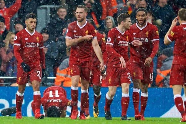 LIVERPOOL, ENGLAND - Sunday, December 10, 2017: Liverpool's Mohamed Salah celebrates scoring the first goal during the FA Premier League match between Liverpool and Everton, the 229th Merseyside Derby, at Anfield. (Pic by David Rawcliffe/Propaganda)